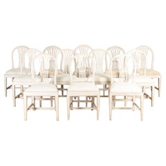 Set of 12 Gustavian Dining Chairs
