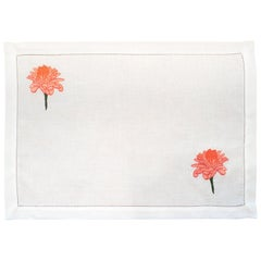 Set of 12 Hand Embroidered Table Linen Placemats with Rose of Angola