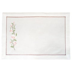 Set of 12 Hand Embroidered Table Linen Placemats with Tiger Lilies