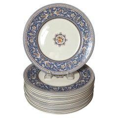Set of 12 Hand Enameled English Dinner Service Plates