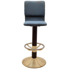 Set of Seven High Brass Bar Stools with Footrest, 1980s