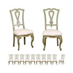 Set of 12 Italian 19th Century Dining Room Chairs with Hand Painted Floral Decor