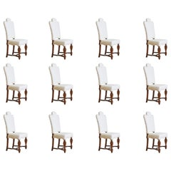 Set of 12 Italian Lxiv Style Wooden Dining Chairs from the 19th Century