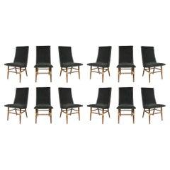 Set of 12 Italian Mid-Century Modern Dining Chairs