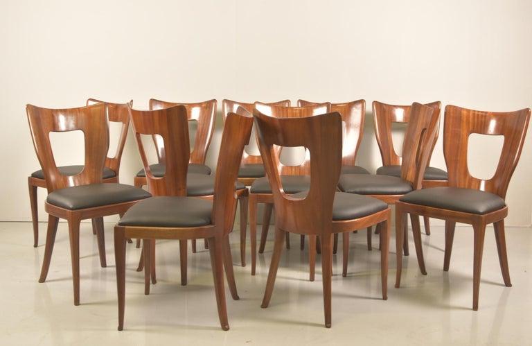 Set of 12 Italian Modern Mahogany Dining Chairs, Osvaldo Borsani For Sale 5