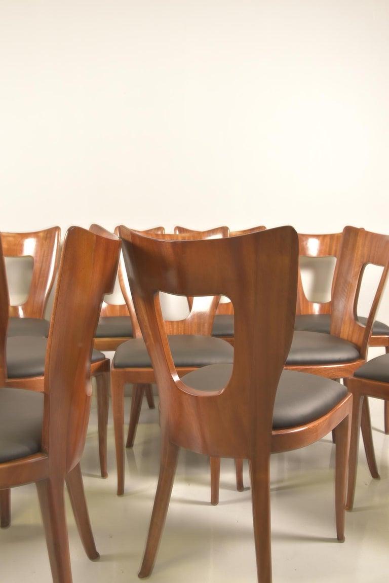 Set of 12 Italian Modern Mahogany Dining Chairs, Osvaldo Borsani For Sale 6