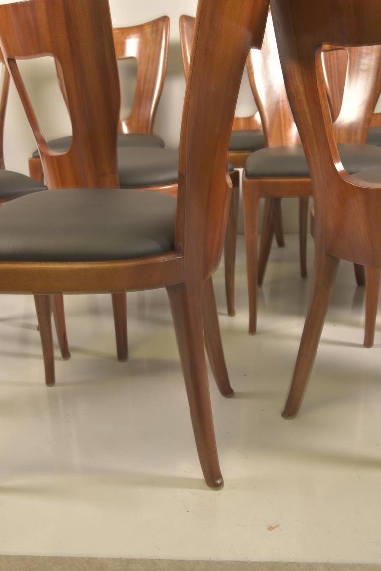 Set of 12 Italian Modern Mahogany Dining Chairs, Osvaldo Borsani For Sale 7