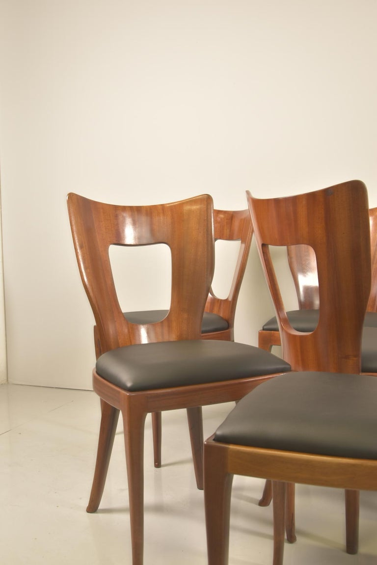 Set of 12 Italian Modern Mahogany Dining Chairs, Osvaldo Borsani For Sale 8