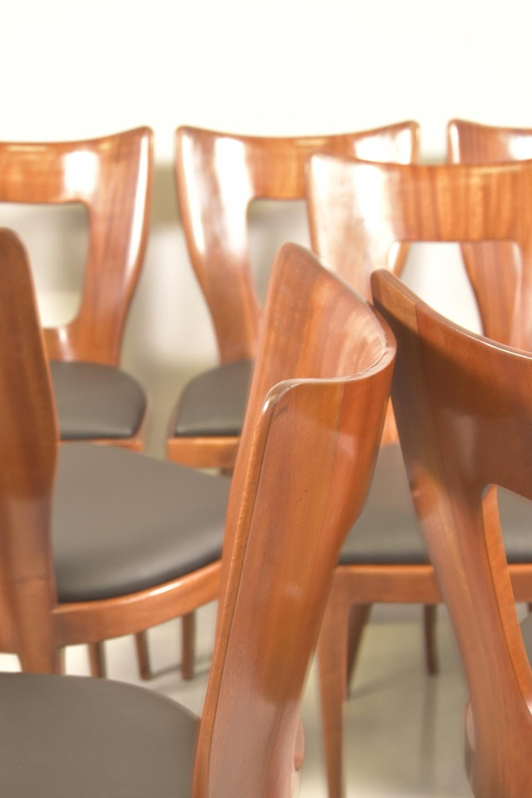 Set of 12 Italian Modern Mahogany Dining Chairs, Osvaldo Borsani For Sale 9