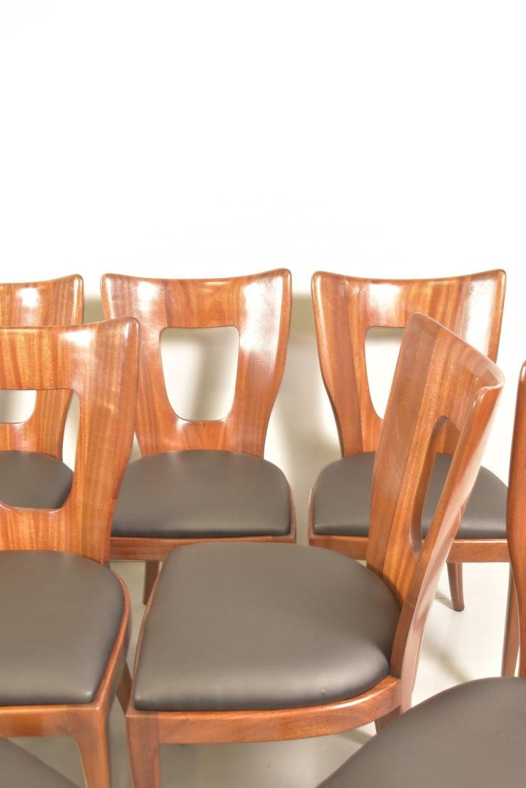 Set of 12 Italian Modern Mahogany Dining Chairs, Osvaldo Borsani For Sale 11