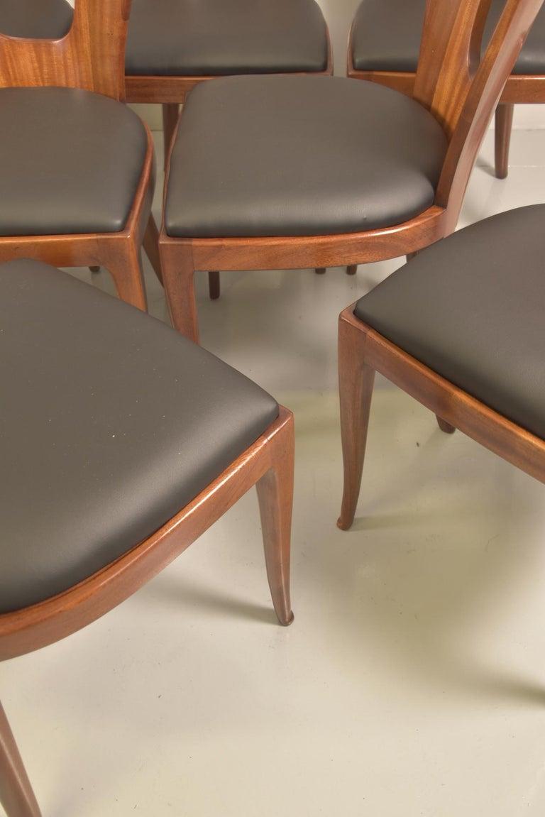Set of 12 Italian Modern Mahogany Dining Chairs, Osvaldo Borsani For Sale 12