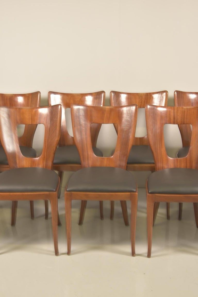 Mid-Century Modern Set of 12 Italian Modern Mahogany Dining Chairs, Osvaldo Borsani For Sale
