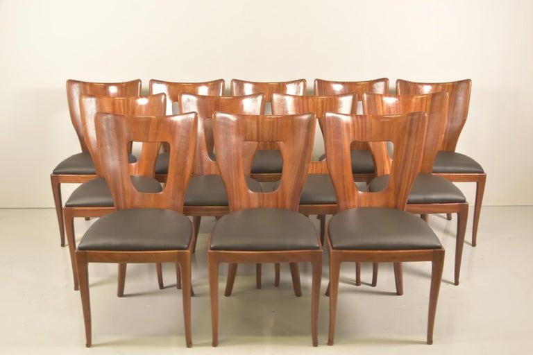 Set of 12 Italian Modern Mahogany Dining Chairs, Osvaldo Borsani In Good Condition For Sale In Rovereta, SM