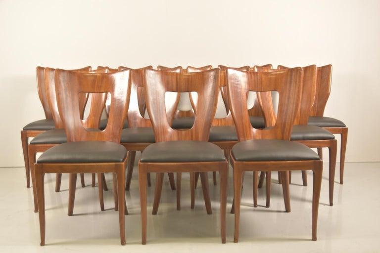 20th Century Set of 12 Italian Modern Mahogany Dining Chairs, Osvaldo Borsani For Sale