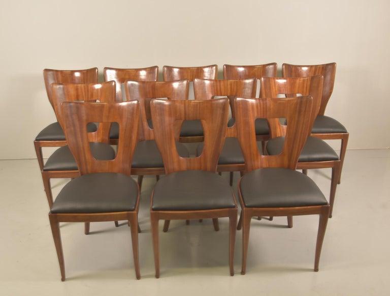 Set of 12 Italian Modern Mahogany Dining Chairs, Osvaldo Borsani For Sale 2