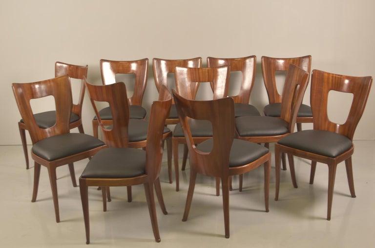 Set of 12 Italian Modern Mahogany Dining Chairs, Osvaldo Borsani For Sale 3