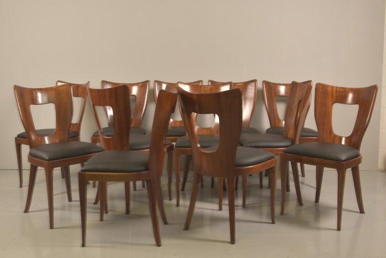 Set of 12 Italian Modern Mahogany Dining Chairs, Osvaldo Borsani For Sale 4
