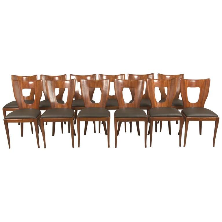 Set of 12 Italian Modern Mahogany Dining Chairs, Osvaldo Borsani For Sale