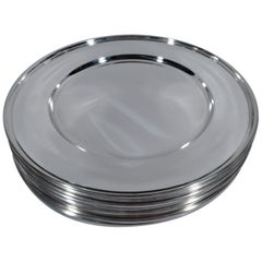 Set of 12 Kirk American Modern Sterling Silver Dinner Plates