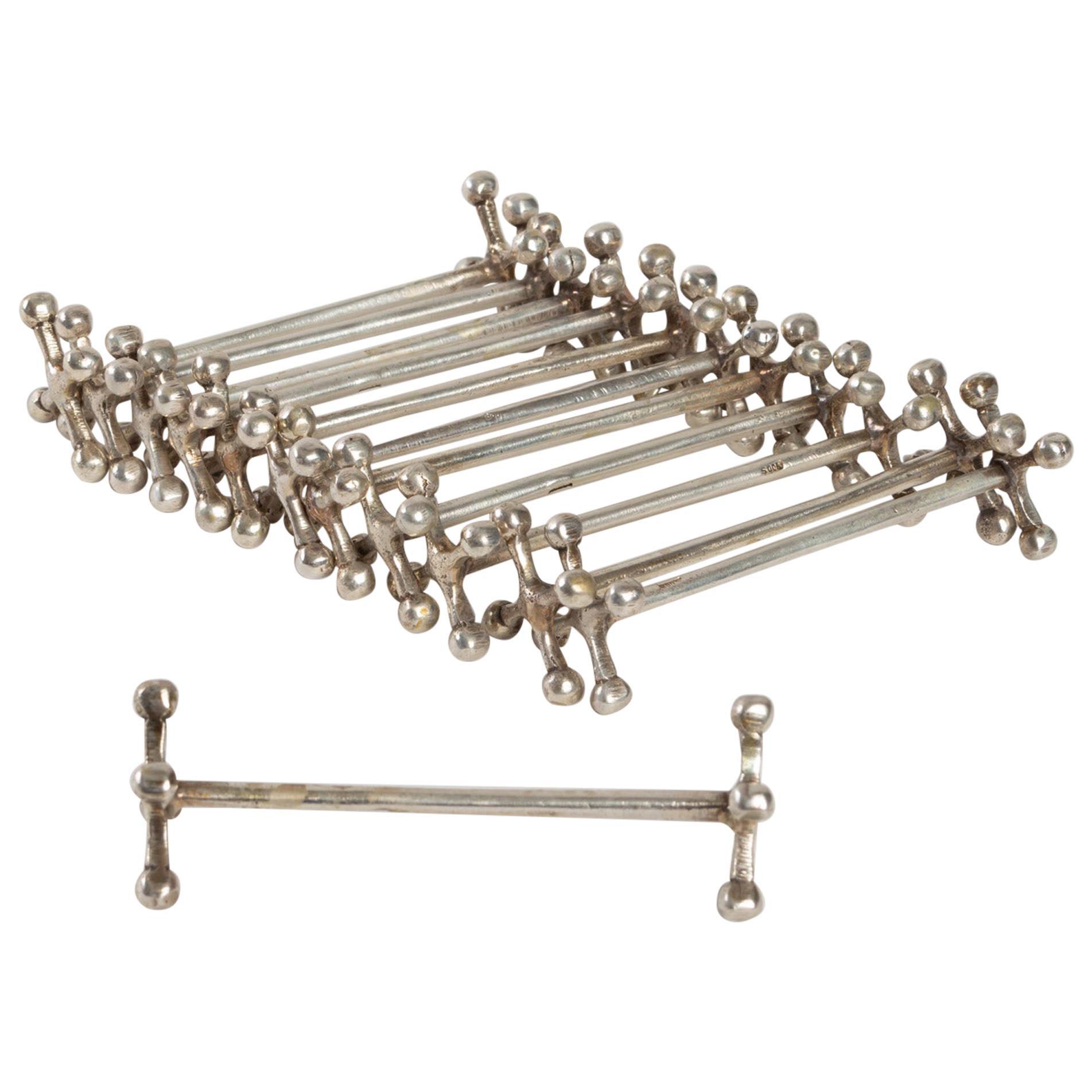Set of 12 Knife Holders in Silver Metal