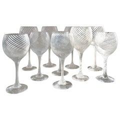Set of 12 Large Murano Wine Glasses Attributed to Venini