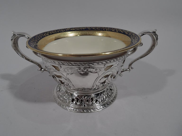Set of 12 Lenox Bouillon Bowls in Gorham Sterling Silver Holders For Sale 1