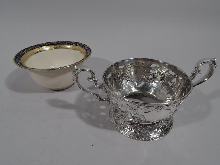 Set of 12 Lenox Bouillon Bowls in Gorham Sterling Silver Holders For Sale 2