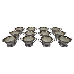 Set of 12 Lenox Bouillon Bowls in Gorham Sterling Silver Holders