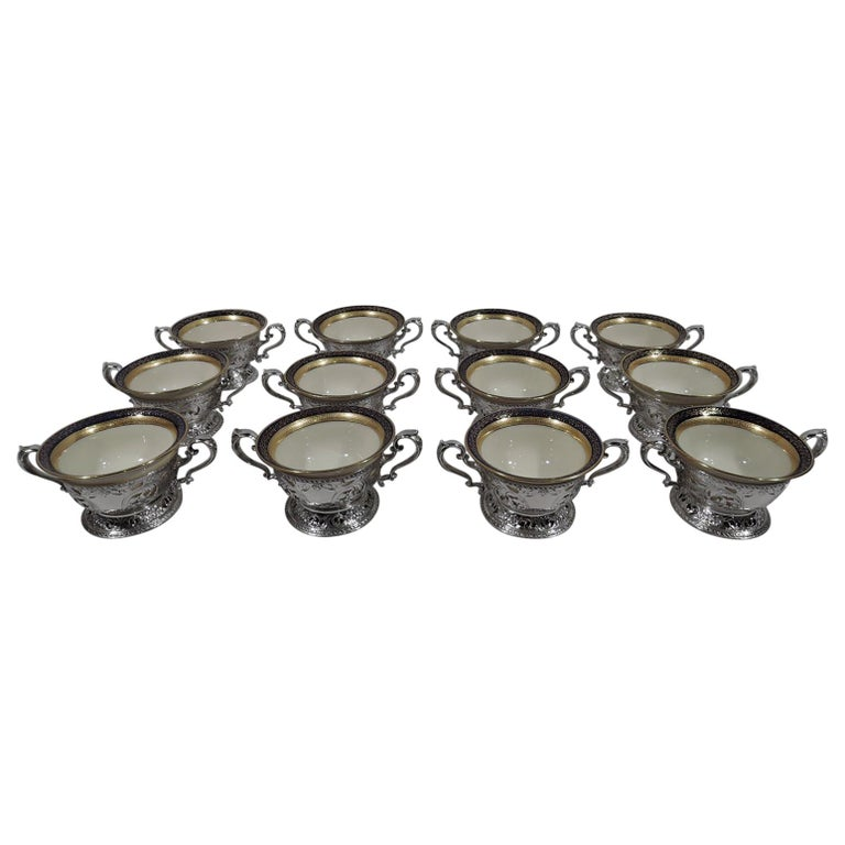 Set of 12 Lenox Bouillon Bowls in Gorham Sterling Silver Holders For Sale