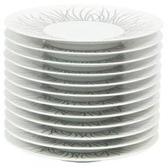"""Set of 12 Limoges Gilded Porcelain """"Hémisphère"""" Dessert Plates by J.L. Coquet"""