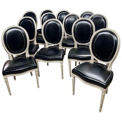 Set of 12 Louis XVI Style Dining Chairs in the Manner of Maison Jansen