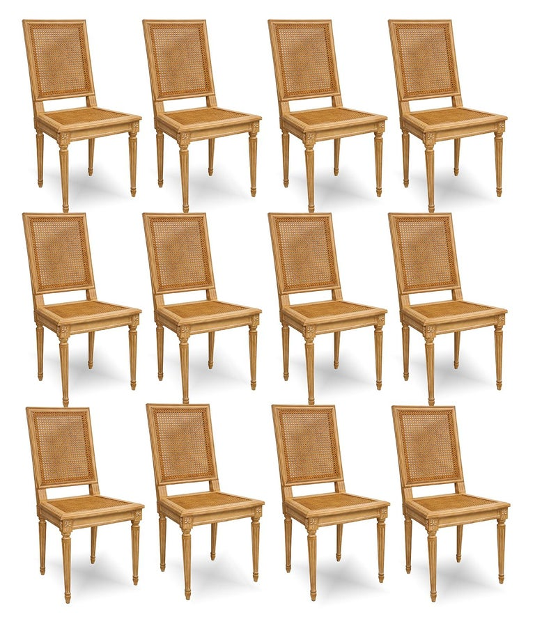 Set of 10 Louis XVI Style Hand-Caned Dining Chairs For Sale 5