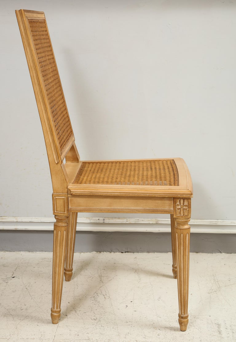 Maple Set of 10 Louis XVI Style Hand-Caned Dining Chairs For Sale