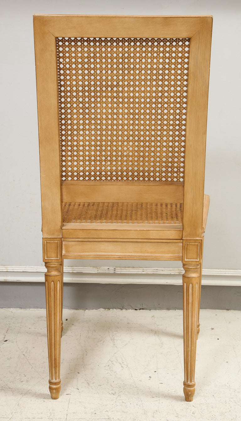Set of 10 Louis XVI Style Hand-Caned Dining Chairs For Sale 2
