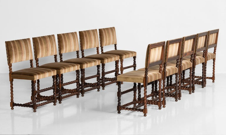 Set of (12) Macassar ebony chairs, France, 19th century.  Handsome form, spiral turned legs and stretchers, upholstered in a silk velvet.