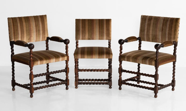 French Set of '12' Macassar Ebony Chairs, France, 19th Century For Sale