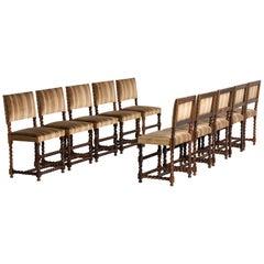 Set of '12' Macassar Ebony Chairs, France, 19th Century
