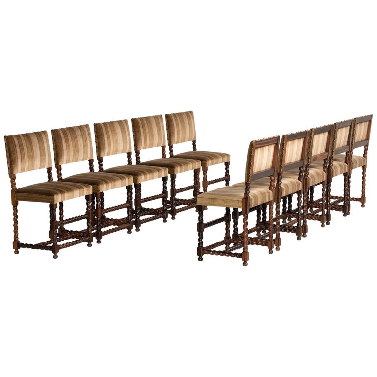 Set of '12' Macassar Ebony Chairs, France, 19th Century For Sale