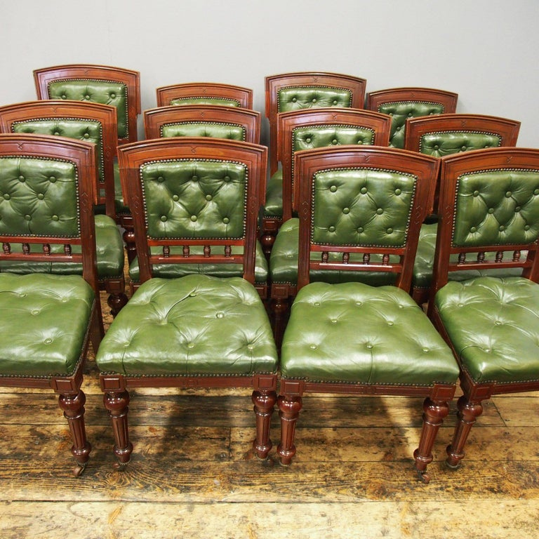 Set of 12 Mahogany and Green Leather Dining Chairs For ...