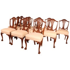 Set of 12 Mahogany Chairs in Chippendale Style, 19th Century
