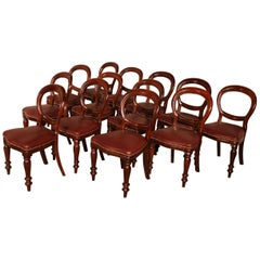 Set of 12 Mahogany Chairs Upholstered with Leather, End of the 19th Century
