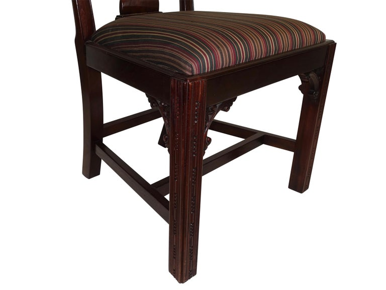 Set of 12 Mahogany Chippendale Style Dining Chairs For Sale 6