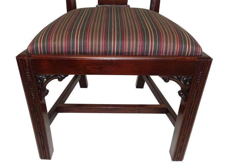 Set of 12 Mahogany Chippendale Style Dining Chairs For Sale 7