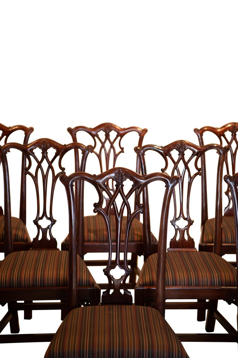 A set of twelve mahogany Chippendale style dining chairs, two armchairs and ten side chairs. Good quality, handcrafted chairs with upholstered seats (four of the seats have faded fabric). American, last quarter of the 20th century. Dimensions of the