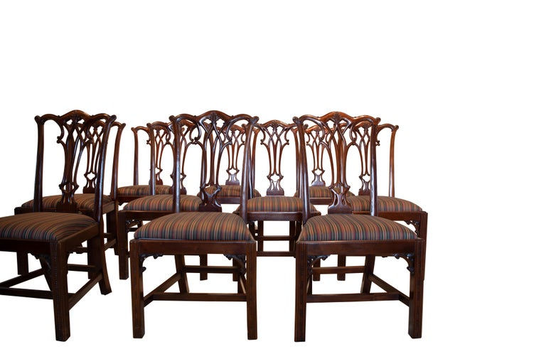 Set of 12 Mahogany Chippendale Style Dining Chairs For Sale 1