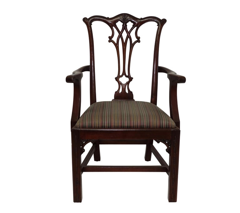 American Set of 12 Mahogany Chippendale Style Dining Chairs For Sale