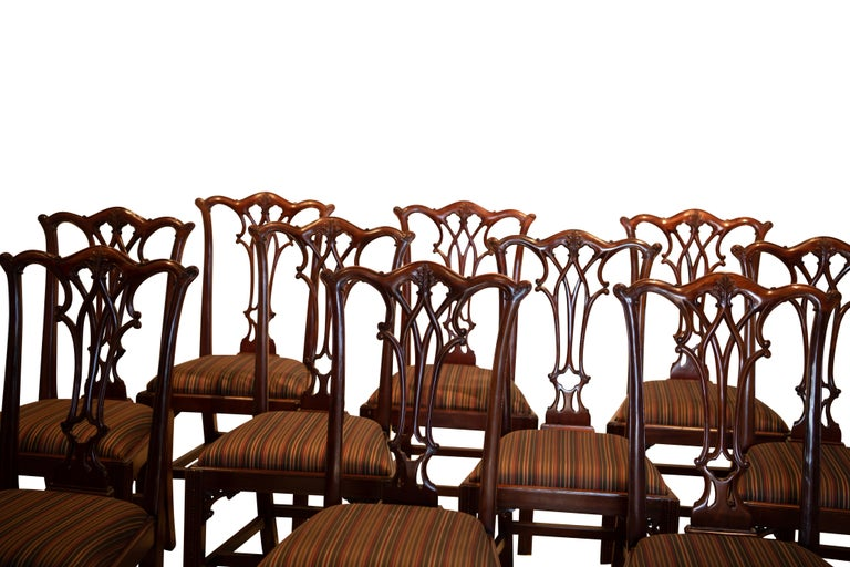 Set of 12 Mahogany Chippendale Style Dining Chairs For Sale 3