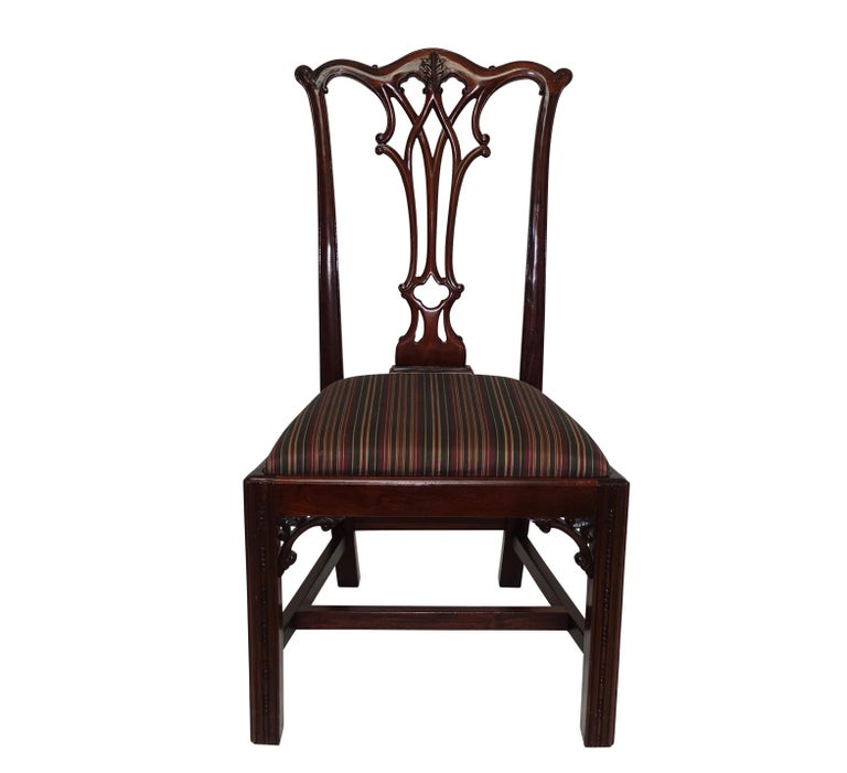Set of 12 Mahogany Chippendale Style Dining Chairs In Good Condition For Sale In San Francisco, CA