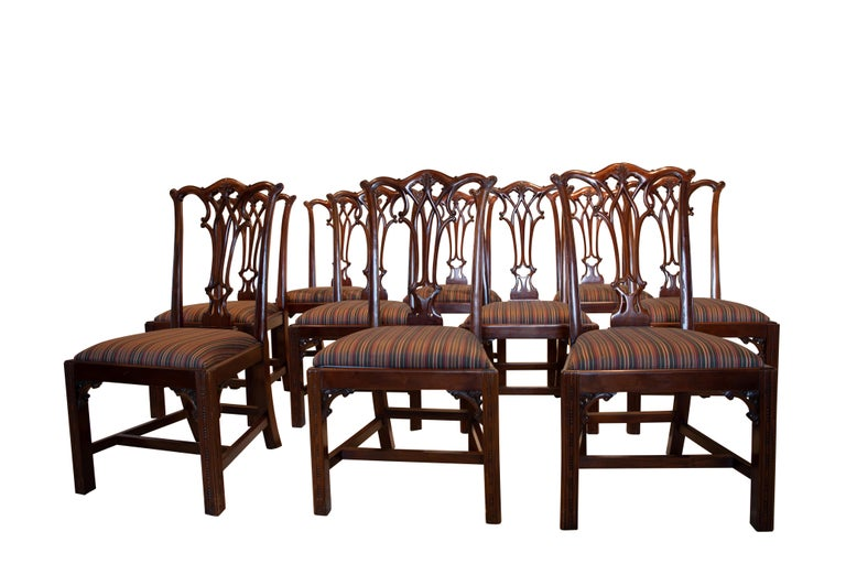 Set of 12 Mahogany Chippendale Style Dining Chairs For Sale 4