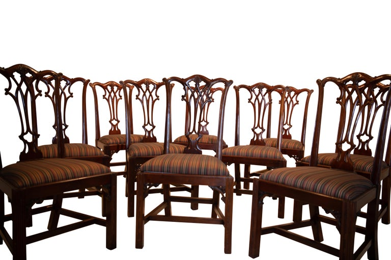 Set of 12 Mahogany Chippendale Style Dining Chairs For Sale 5